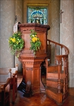 Pulpit and part interior - St. Lawrence Church Mereworth